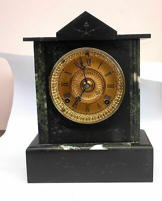 Beautiful antique Belgium slate clock in working order. Strikes on the hours