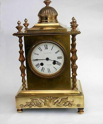 Exceptionally beautiful genuine antique heavy brass striking bell mantle clock