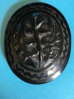 Beautiful Large Antique Victorian Hand Carved Whitby Jet Brooch/Pendant