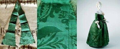EARLY 18th C. REMARKABLE & RARE EMERALD GREEN SILK DAMASK STOLE – UNFINISHED