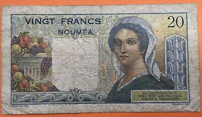 New Caledonia 1954 20 Francs Circulated Banknote #AK14