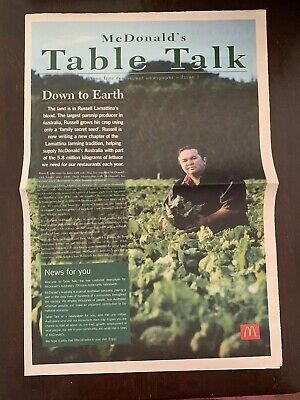 Mc Donalds ' Table Talk' Your Free Restaurant Newspaper Issue One