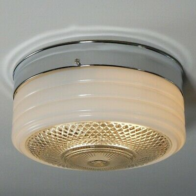 Flush Mount Utility Ceiling Light. Vintage Glass Shade with New Pan Fixture