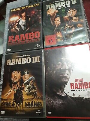 RAMBO Teil 1 2 3 4 Sylvester Stallone 4 DVD BOX Collection #1 Fsk18