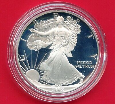1992 'S' United States Eagle Proof Dollar 1 Oz Silver Coin In Capsule