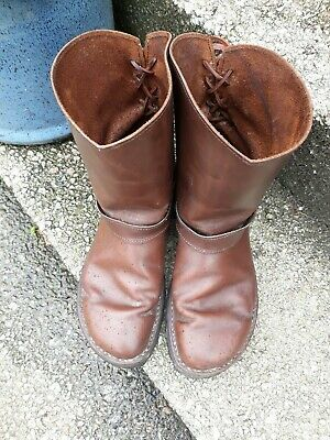 Handmade Brown Leather Boots By Conkers, Devon Size 40 7.5 Uk