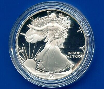 1991 'S' United States Eagle Proof Dollar 1 Oz Silver Coin In Capsule