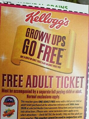 Kelloggs  2 For 1 ONLINE CODE, Sea Life, Alton Towers, Thorpe Park,  London Eye,