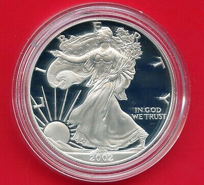 2002 'W' United States Eagle Proof Dollar 1 Oz Silver Coin In Capsule