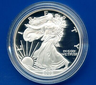 2005 'W' United States Eagle Proof Dollar 1 Oz Silver Coin In Capsule