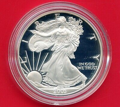 2003 'W' United States Eagle Proof Dollar 1 Oz Silver Coin In Capsule