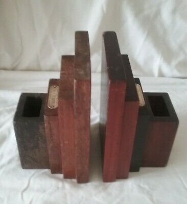 ART DECO TEAK BOOKENDS, MADE FROM SALVAGED WOOD offHMS TERRIBLE & HMS BIRMINGHAM