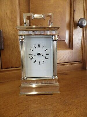L Epee French Carriage Clock Mega Rare Heavy Case Silvered & Brass Serviced
