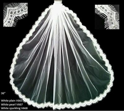 """36"""" plain, studded pearl or sparkling lace edged wedding veil with comb"""