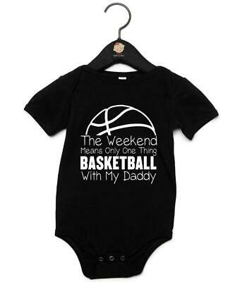 """Baby Grow """"Weekends Mean One Thing Basketball With My Daddy"""" Rugby Baby Vest"""