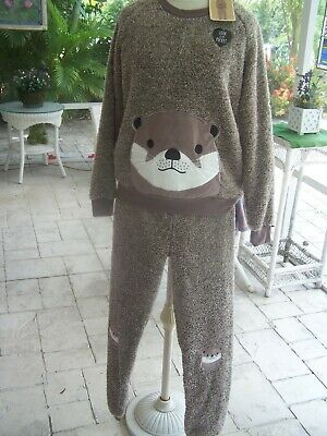"PRIMARK  NWT ""Love to Lounge"" Ladies 2 PC OUTFIT, MOCHA BROWN FUZZY OTTER (MED)"