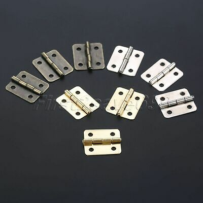 Mini Antique Cabinet Door Wooden Box Hinge Round Corner Hinge 10Pcs Zinc Alloy