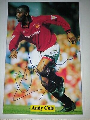 Andy Cole Hand Signed Autograph 6X4 Player Photo Manchester United