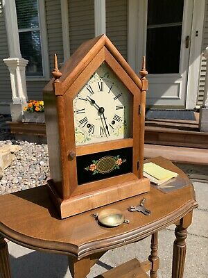 Restored SETH THOMAS Sharon 7W Steeple Cathedral Chime Clock Maple Antique