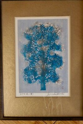 Blue Tree Woodblock by Joichi Hoshi signed and stamped