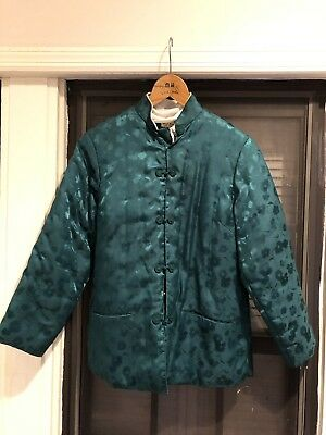 green Chinese Style unisex TANG SUIT TOP JACKET Warm Silk Fill And Shell