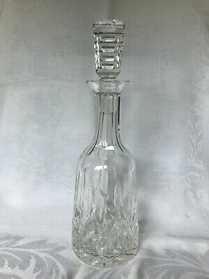 "Waterford Crystal Lismore Pattern Wine Decanter with Stopper 13"" Tall Cut Glass"