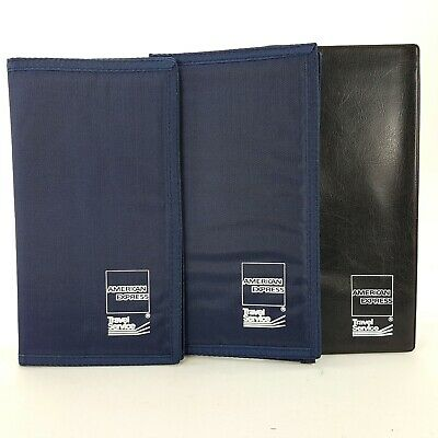 American Express AMEX LOT 3 Blue Nylon Black Vinyl Guest Check Folder Presenter