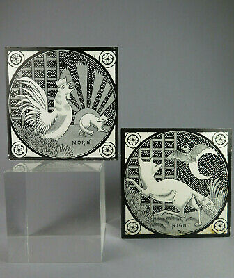 Beautiful Rare Pair Antique Arts & Crafts T & R Boote Tiles ~  Morn & Night