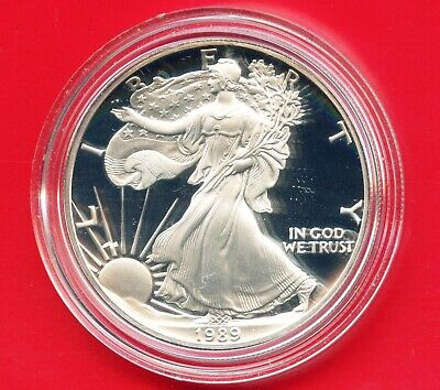 1989 'S' United States Eagle Proof Dollar 1 Oz Silver Coin In Capsule