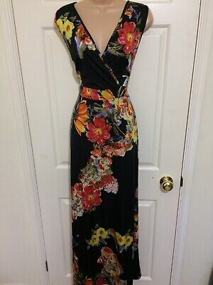 Gorgeous Boho Maxi Dress With Stretch Black Ditsy Flowers Yellow Red Pink 18