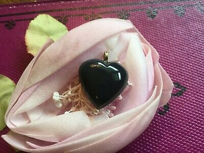 Antique vintage carved Agate stone heart charm~fob~drop with 14k bail