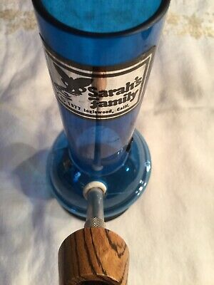 Vintage blue tobacco Hookah Bong pipe Unused Rare Sarah's Family 8 inch 77