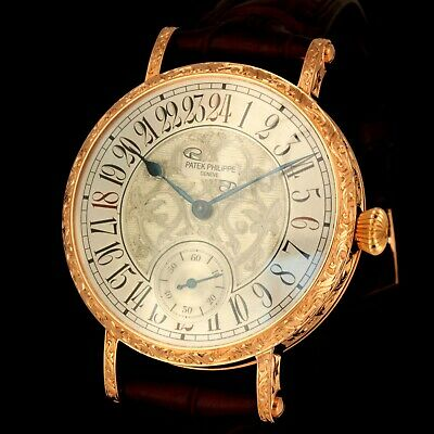 Solid 14K Gold Antique 24-Hour Patek Philippe Watch High Grade 19 Jewels M- 1867