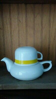Teapot for One Fine China W/ Cup Made in Japan by SOLO  White W/Yellow Bands EUC