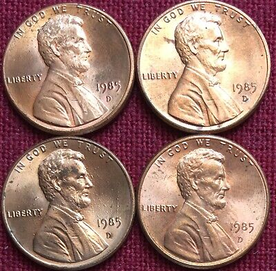 1985 D United States Lincoln Memorial Cent 1c Coin AU Condition. Lot Of 4.