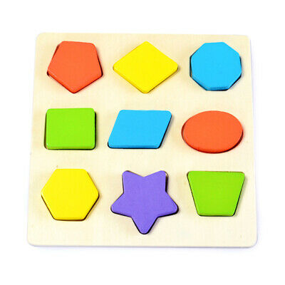 9pcs Multicoloured Geometric Shape Sorter Matching 3D Wooden Baby Toys Children