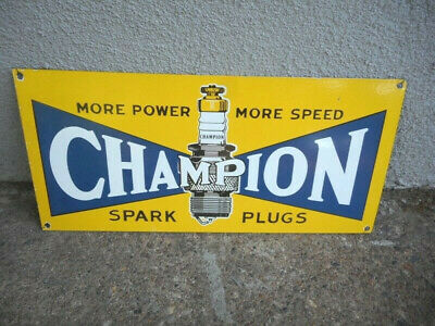 CHAMPION SPARK PLUGS Porcelain Heavy Metal Thick Used Sign Gas & Oil Moving Sale