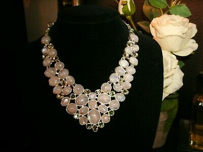 white moonstone, green amey Silver Plated  Cleopatra cluster bib adjustable