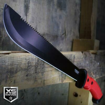 "15.5"" RED Survival Jungle Hunting Machete SAWBACK Military Fixed Blade SHEATH"