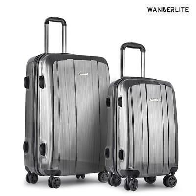 Wanderlite 2pc Luggage Sets Suitcase Trolley Set TSA Hard Case Lightweight
