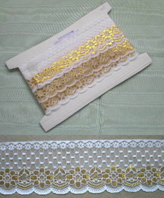 Flat Lace Two-Tone White/Gold x 10 meters