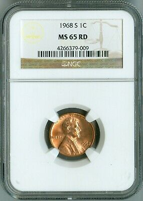 1968 S NGC MS65 RD LINCOLN CENT 1c, NO RESERVE