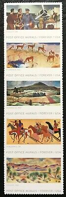 2019 Scott #5372-5375 - Forever - POST OFFICE MURALS - Strip of 5 Stamps - MNH