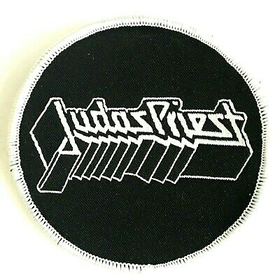 JUDAS PRIEST - White Logo - Round Woven Patch Sew On NWOBHM Aufnäher