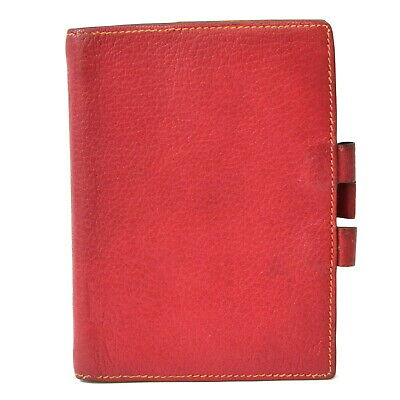 Authentic Hermes Agenda Couchevel Leather Organizer Planner Note Case Red 2005