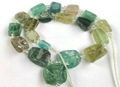 Ancient Old Square Roman Fragment Glass Beads Strand Mixed Color size  Random