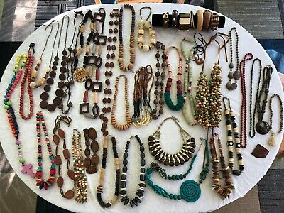 NO JUNK Lot of 40 Vtg to Mod Jewelry Necklaces Bracelets All Wood Tribal Artisan