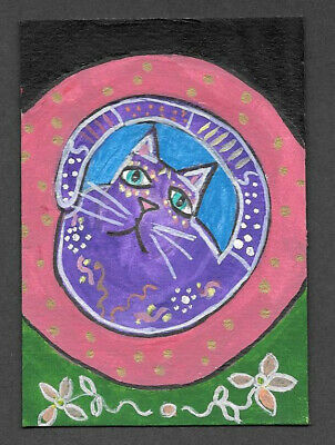 Original Painting ACEO Art Card 2.5 x 3.5 Signed Cat Kitty in Cat Bed