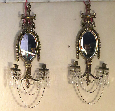 2 shabby Vintage Bronze Brass Mirror CANDLE Sconce wall crystal prisms Hollywood