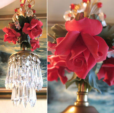 Red Rose crystal chandelier Swag plug vintage lamp Porcelain Capodimonte Brass